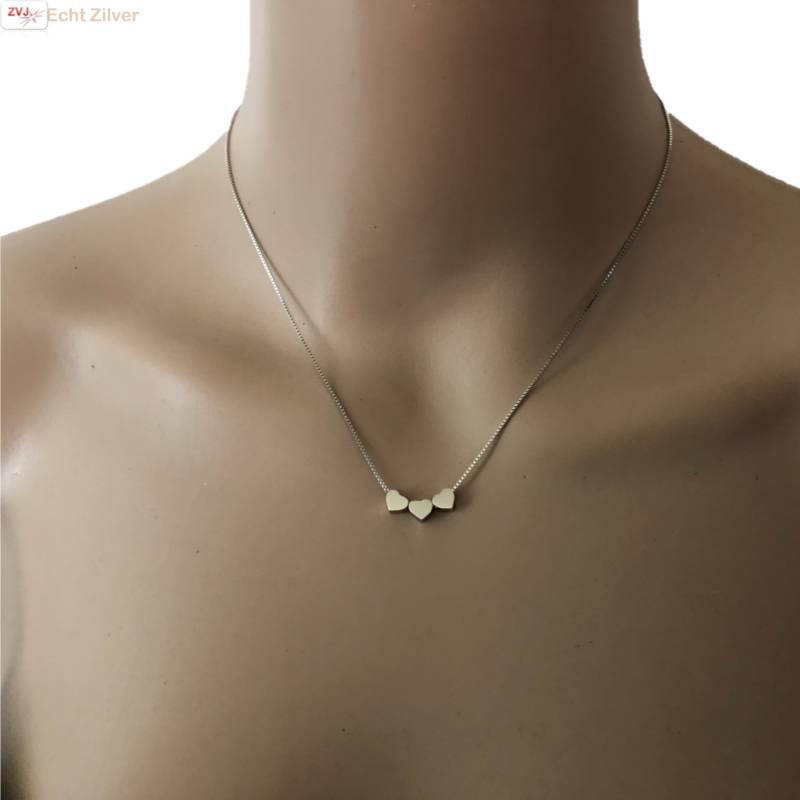 Zilveren 3 hartjes collier-2