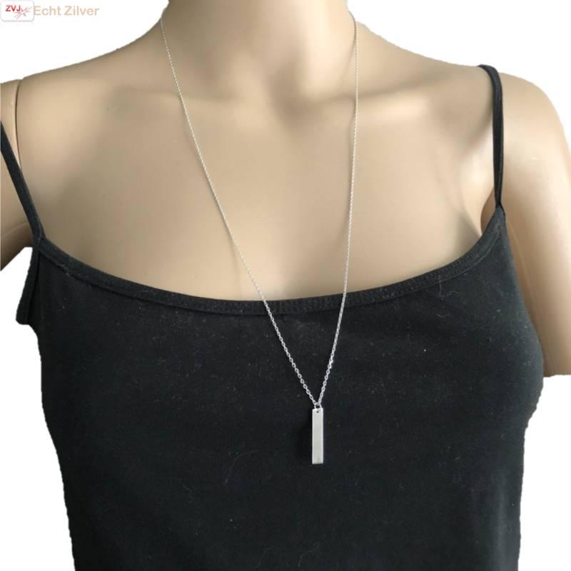 Zilveren lang collier met bar hanger-2