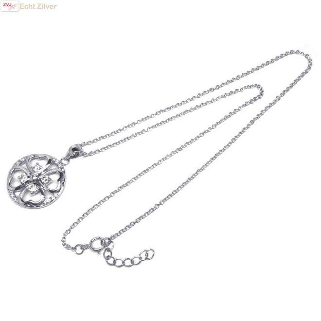 Zilveren collier ronde zirkoon klaver vier hanger