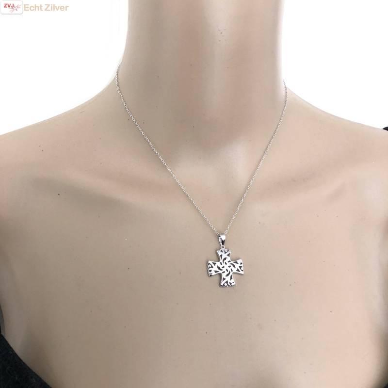 Zilveren collier Croix Pattée kruis-2