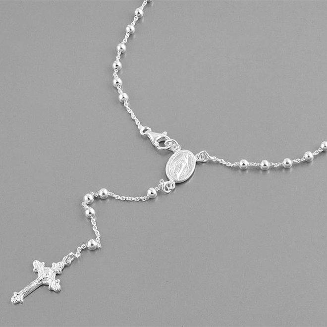 Zilveren rosario collier