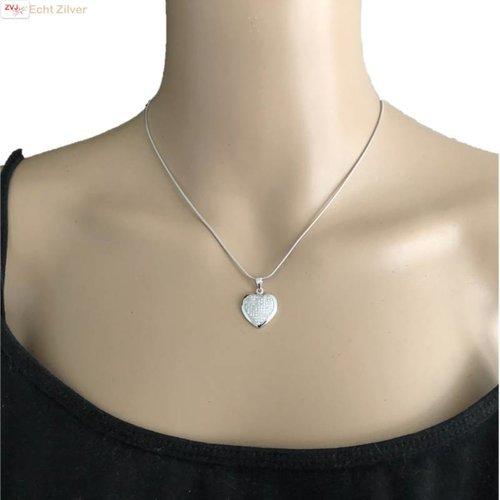 ZilverVoorJou Zilveren collier hart witte pave zirkoon zetting