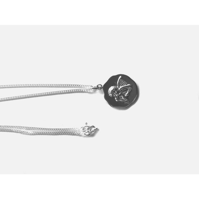 Zilveren beschermengel collier