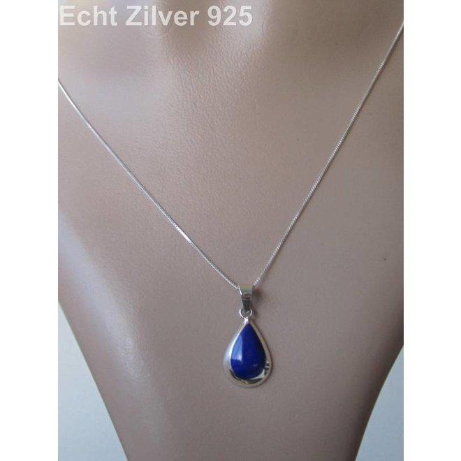Zilveren ketting met druppelhanger lapis lazuli blauw