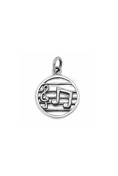 Zilveren ronde muzieknoten kettinghanger