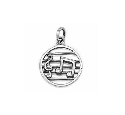 ZilverVoorJou Zilveren ronde muzieknoten kettinghanger