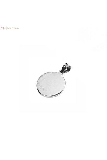 Zilveren ronde disc kettinghanger