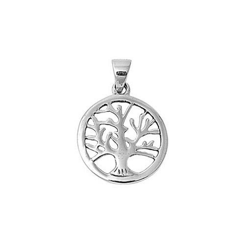 ZilverVoorJou Zilveren ronde levensboom hanger