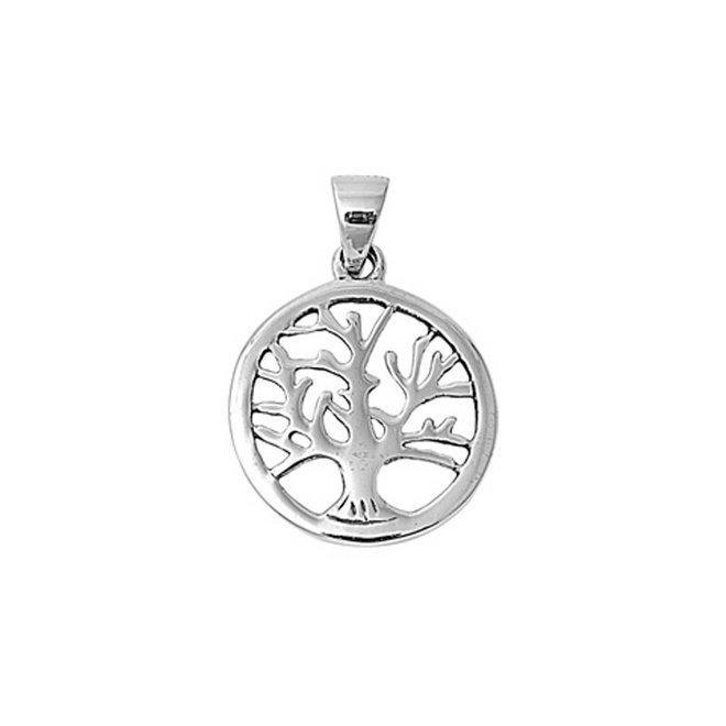 Zilveren ronde levensboom hanger