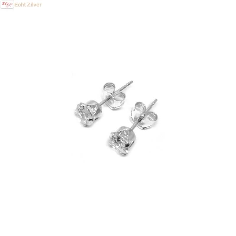 Zilveren mini oorstekers 4 mm witte zirkoon-3