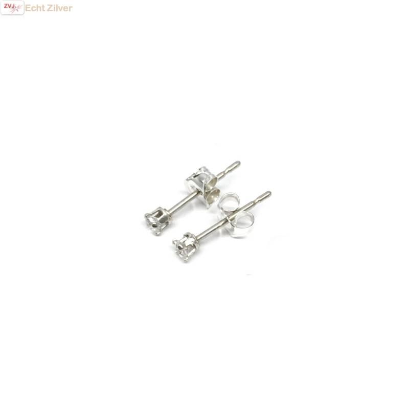 Zilveren mini oorstekers 2 mm witte zirkoon-3