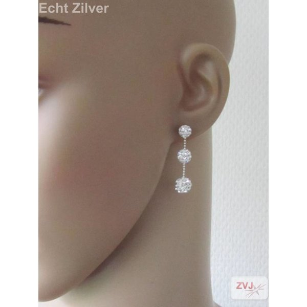 Zilveren 3 witte kristal balletjes oorstekers, bling