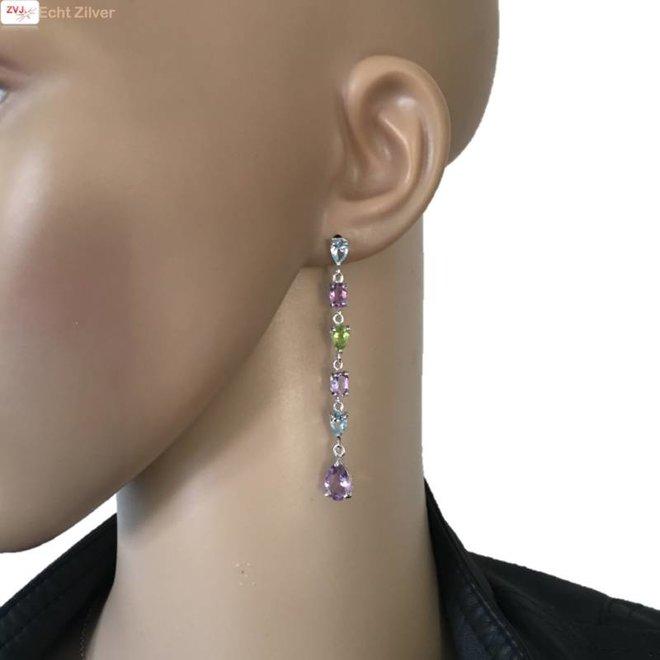 Zilveren luxe amethist peridot topaas lange oorhangers