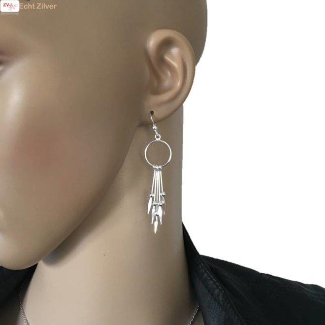 Zilveren ibiza style oorhangers cirkels met hangers