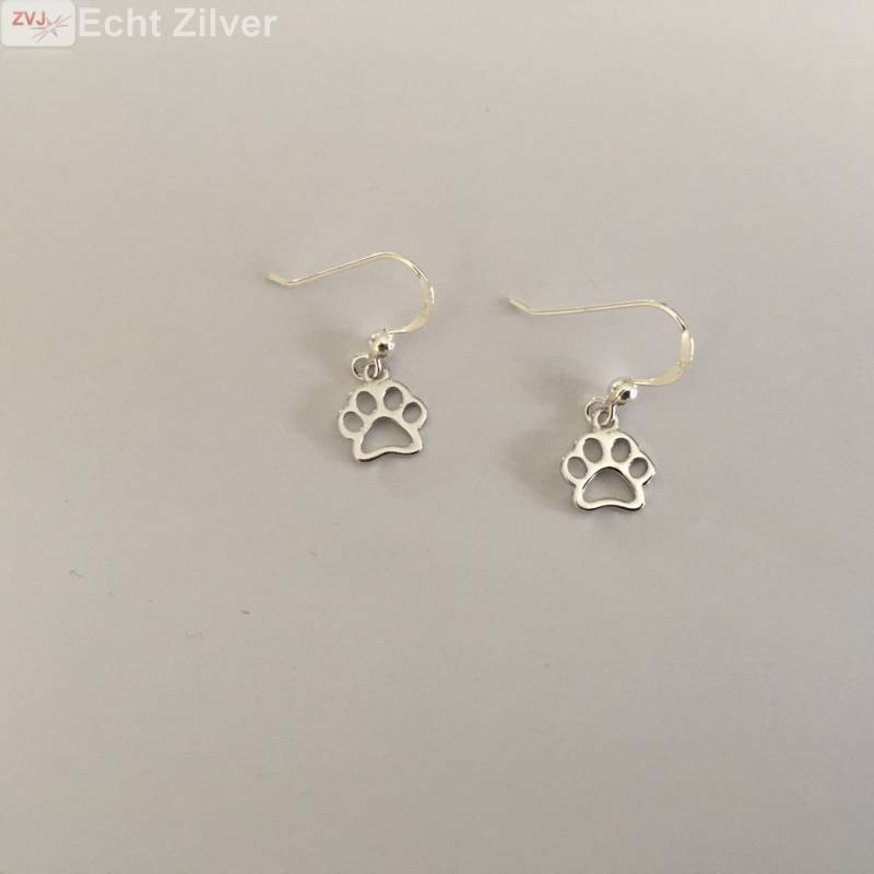Zilveren honden katten pootjes oorhangers-3