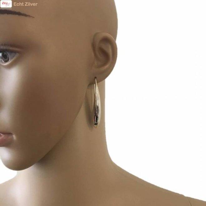 Zilveren grote haak druppel oorhangers