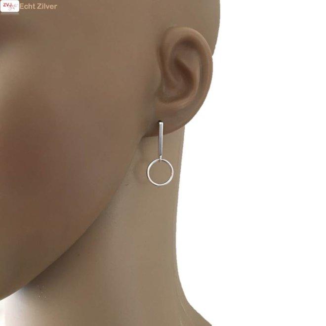 Zilveren cirkel staaf oorstekers hangers