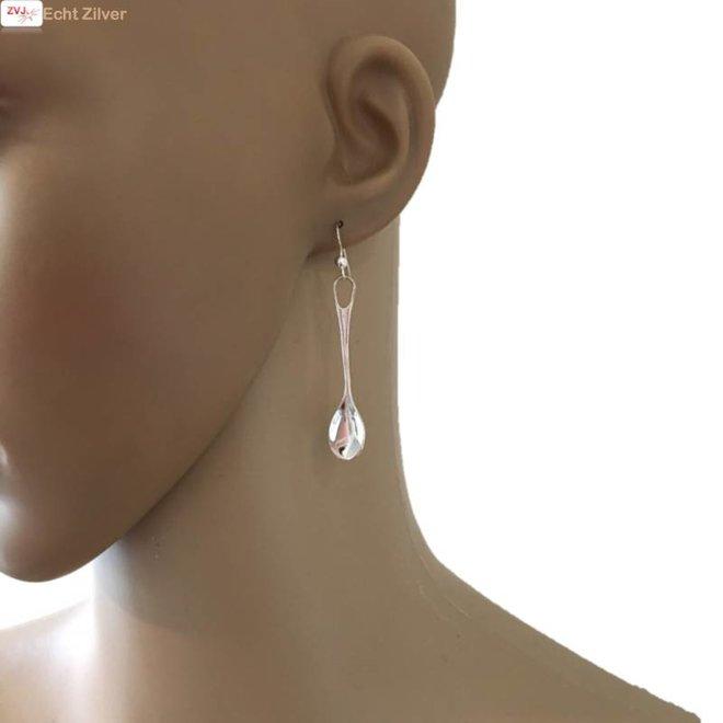 Zilveren oorhangers vork en lepel
