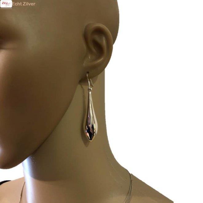 Zilveren lange moderne druppel oorhangers