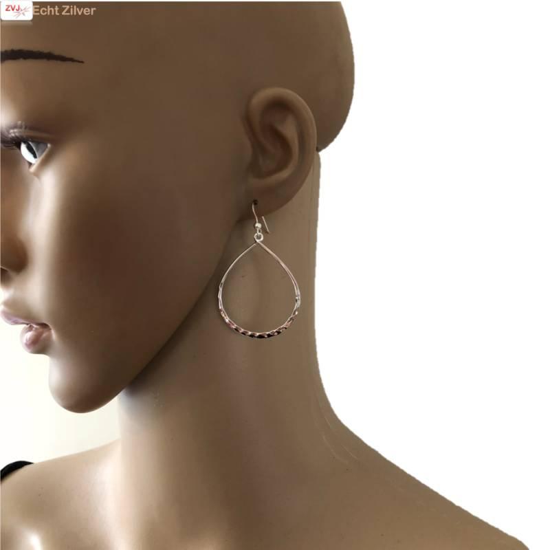 gehamerd zilveren grote open druppel oorhangers-2
