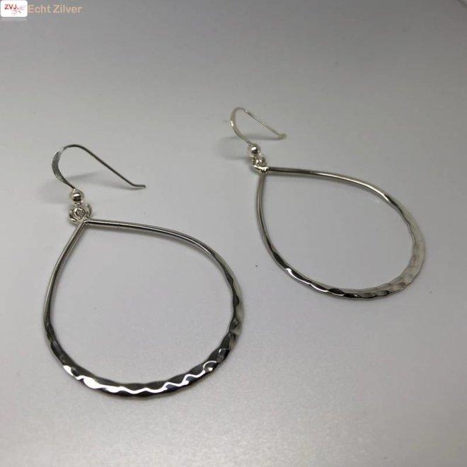 gehamerd zilveren grote open druppel oorhangers