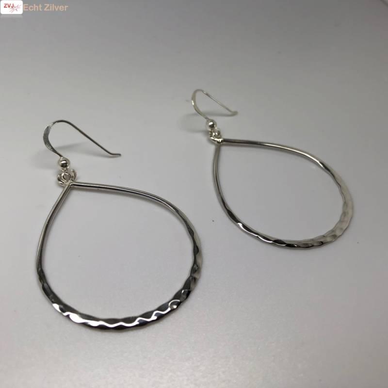 gehamerd zilveren grote open druppel oorhangers-3