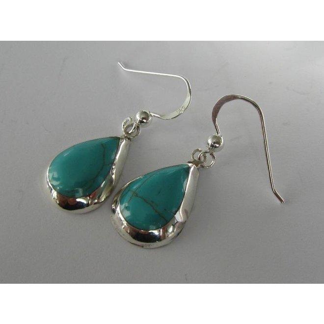 Echt 925 zilveren druppel oorbellen turkoois groen