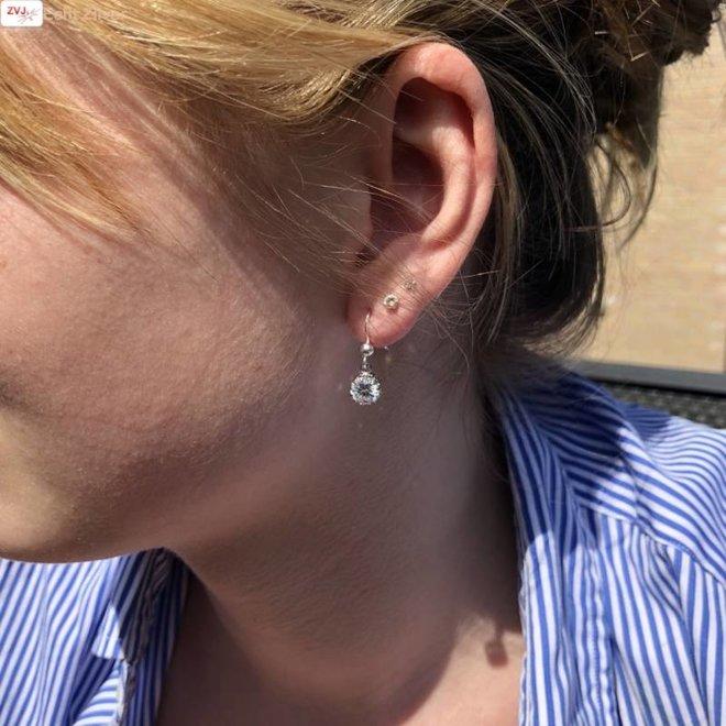 Zilveren witte strakke ronde zirkonia oorbellen hangers