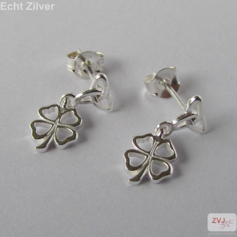 Zilveren keltische knoop klaver vier geluksoorbellen-3