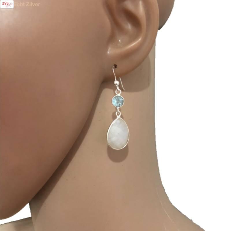 Zilveren regenboog maansteen blauwe topaas edelsteen oorhangers-2