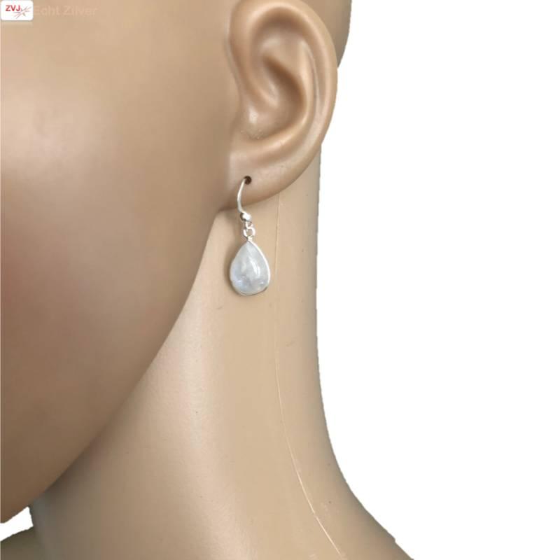 Zilveren  regenboog maansteen druppel oorhangers-2