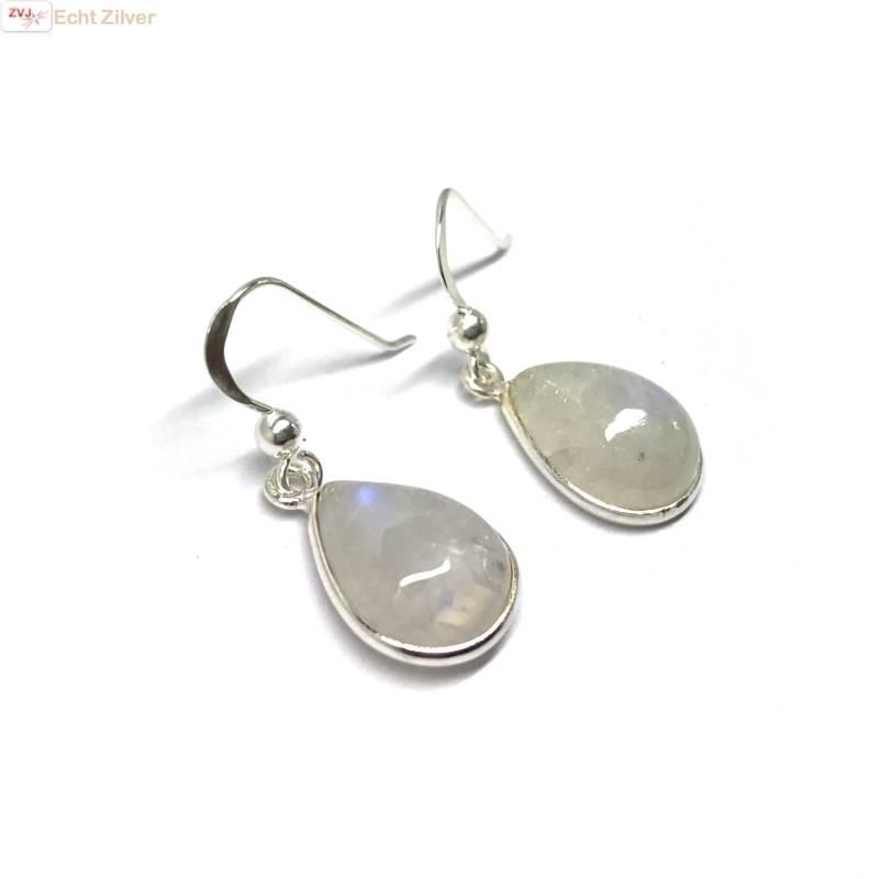 Zilveren  regenboog maansteen druppel oorhangers-3