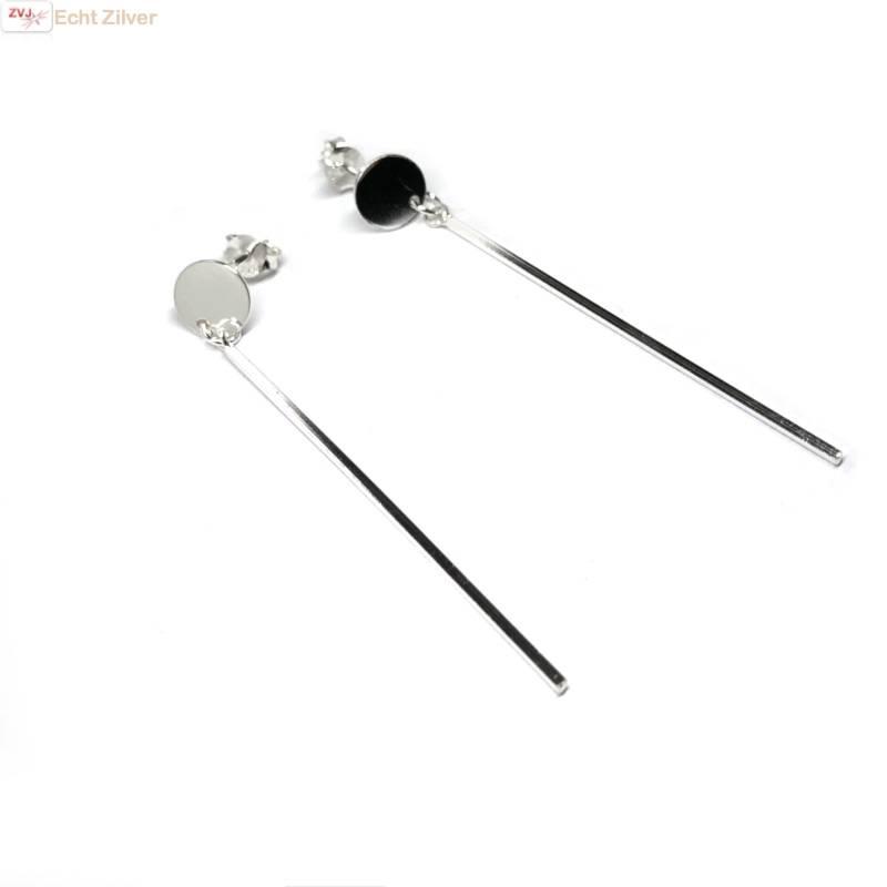 Zilveren staaf cirkel oorbellen-3