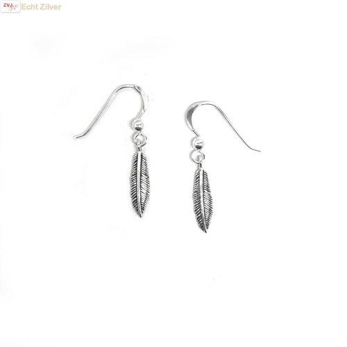 ZilverVoorJou Zilveren oorbellen  met veer hangertjes