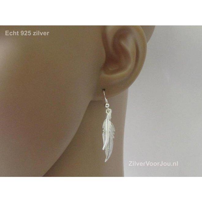Zilveren dubbele veer oorbellen hangers