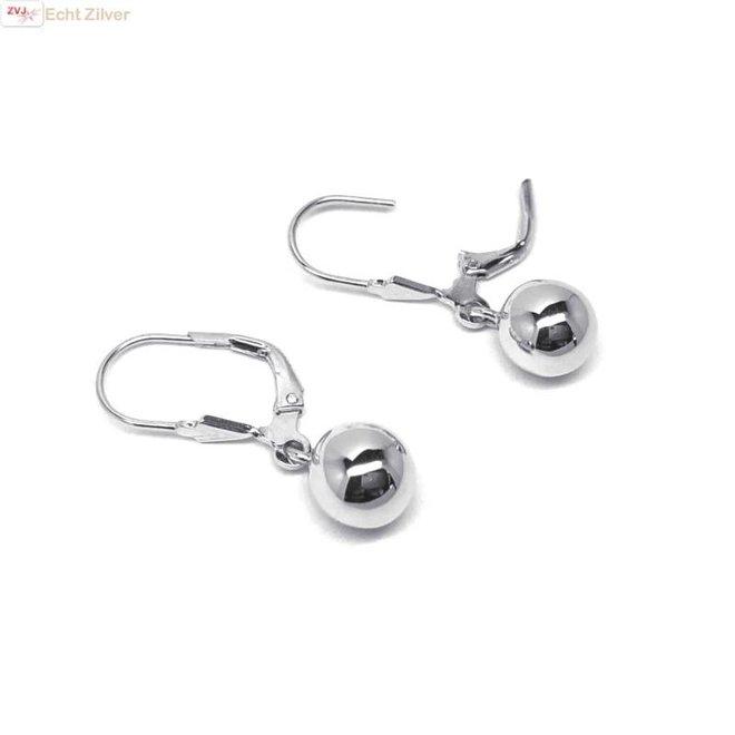 Zilveren oorhangers met bol