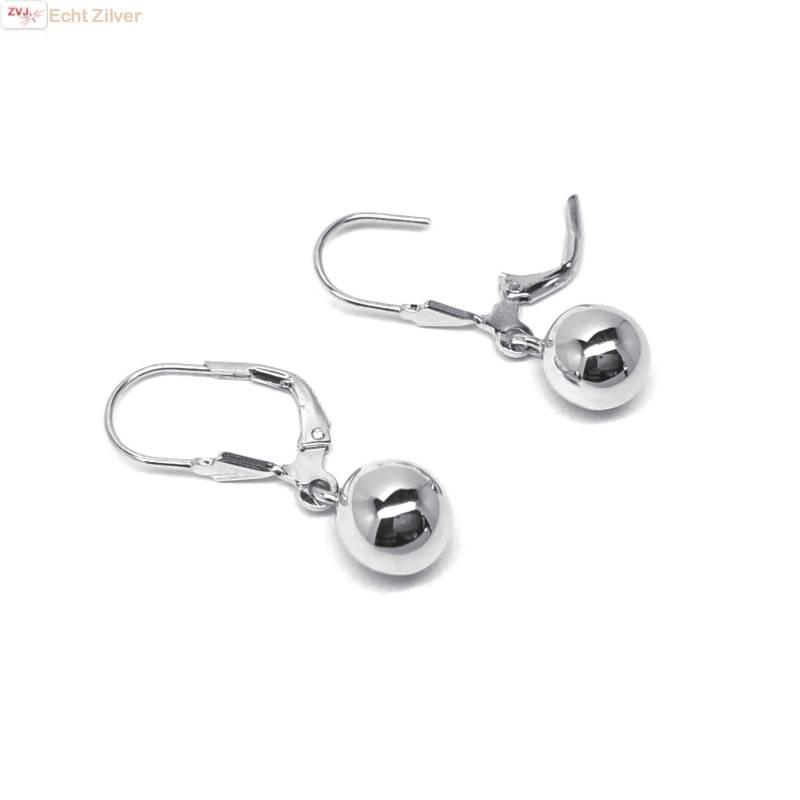 Zilveren oorhangers met bol-3