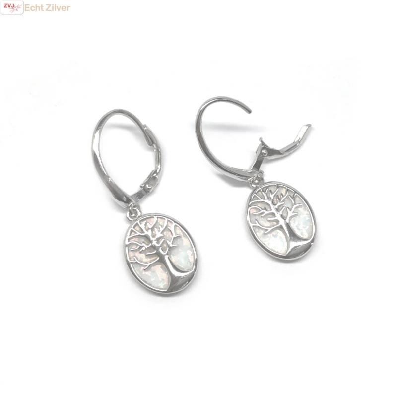 Zilveren witte opaal levensboom oorhangers-3