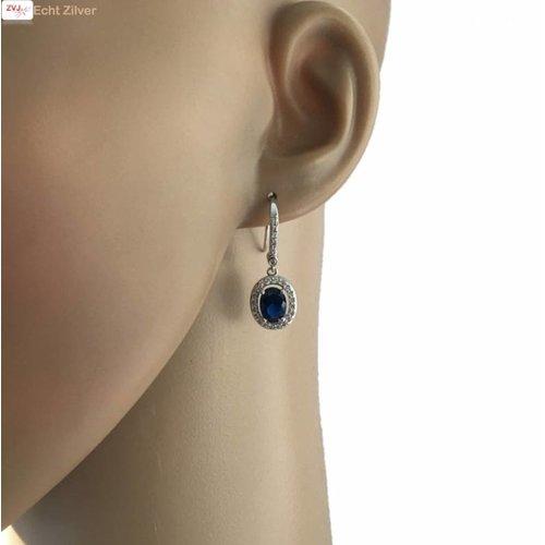 ZilverVoorJou Zilveren saffier blauwe Diana oorhangers