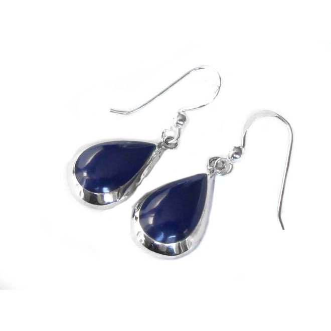 Echt 925 zilveren druppel oorbellen lapis lazuli blauw