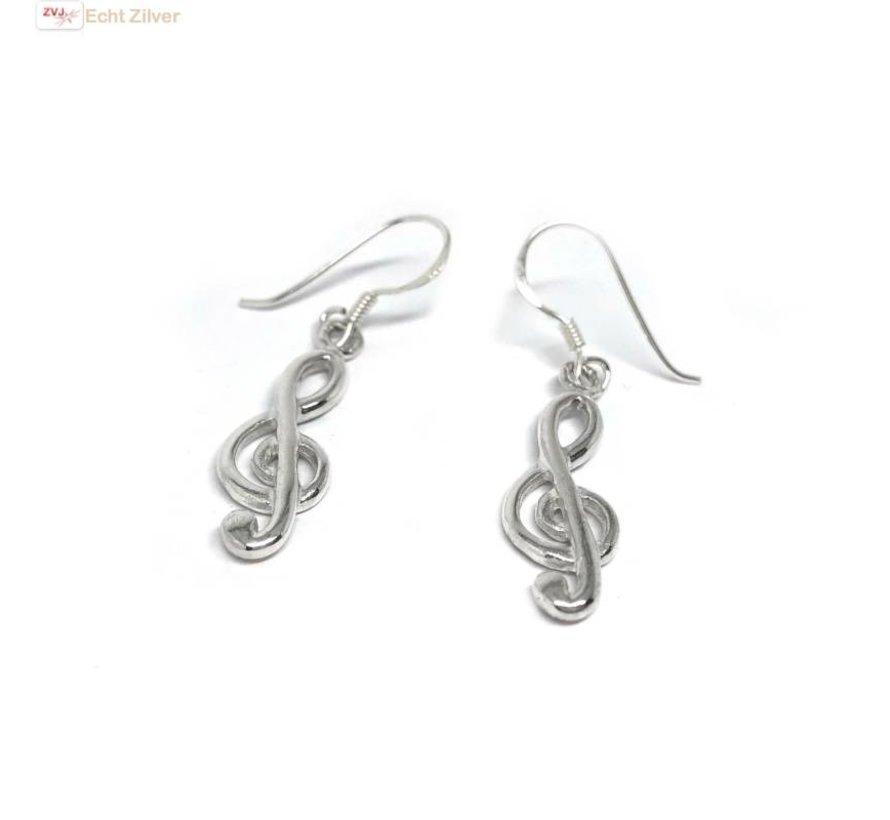 Zilveren vioolsleutel oorbellen hangers