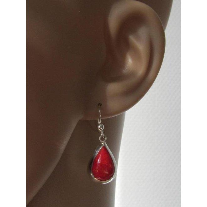 Zilveren druppel oorbellen koraal rood