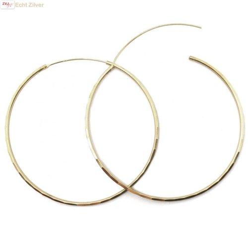ZilverVoorJou Zilveren  vergulde 60 mm oorringen