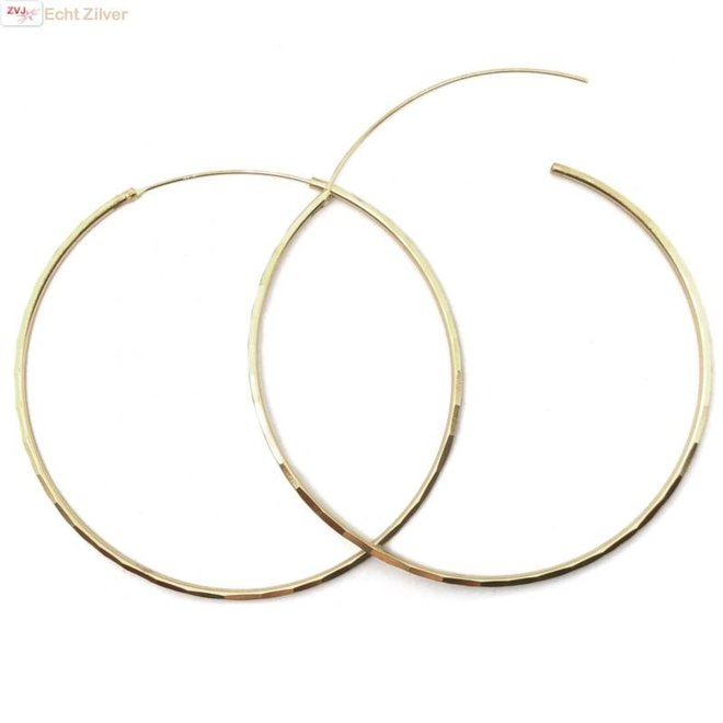 Zilveren  vergulde 60 mm oorringen