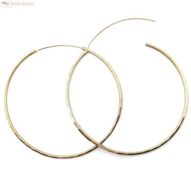 Zilveren 18k vergulde 60 mm creolen oorringen