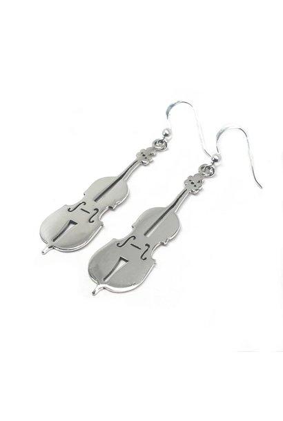Zilveren viool oorbellen