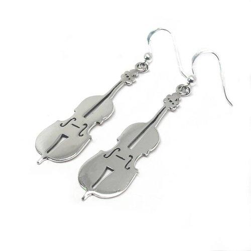ZilverVoorJou Zilveren viool oorbellen