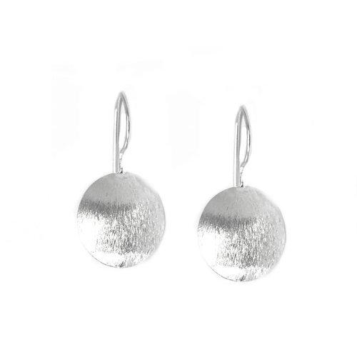 ZilverVoorJou Mat zilveren discus oorbellen