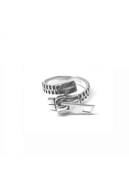 Zilveren rits ring verstelbaar