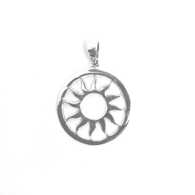 Zilveren ronde zon kettinghanger